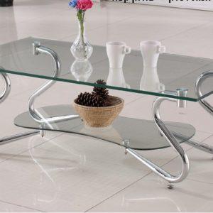 שולחן סלון מזכוכית דו קומתי