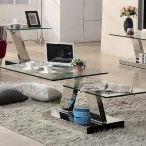 שולחן סלון מזכוכית דו מפלסי